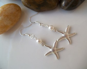 Bridesmaid Earrings, Starfish Earrings,Swarovski Pearls, Silver Starfish, Pearl & Starfish Earrings, Beach Nautical Wedding Earrings