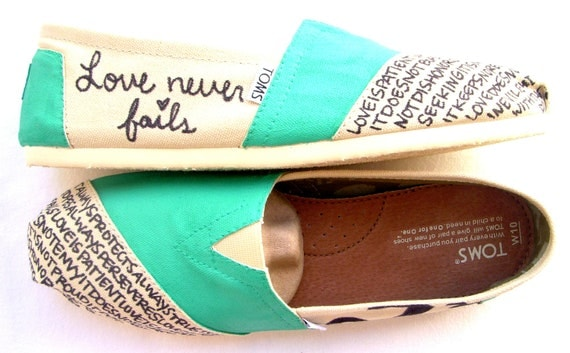 The Iris - TOMS Shoes Teal and Cream Custom TOMS