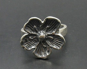 R000827 STERLING SILVER Ring Solid 925 Flower