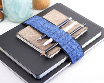 Large Journal Bandolier // blue wave // (a better pencil case, journal pen holder, book strap, pen loop, pencil roll, pen bandolier)