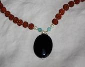 SALE - Black Onyx & Amazonite Crystal Japa Mala 108 Rudraksha beads