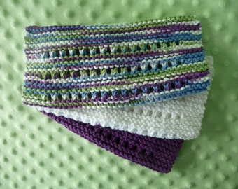 Set of three knitted cotton dish clothes - ready to ship