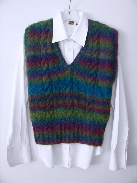 Cable Knit Mohair V-neck Vest by angharadgruffyd on Etsy