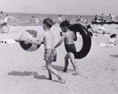 Summer Fun- Boys at the Beach- 1950s Vintage Photograph