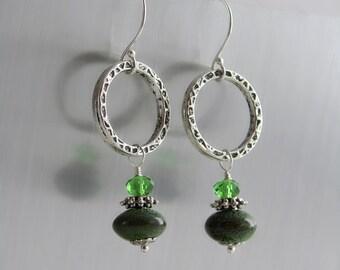 Hoop - Dangle Earrings - Hammered Hoops with Ceramic and Crystal Beads - Green Beaded Earrings