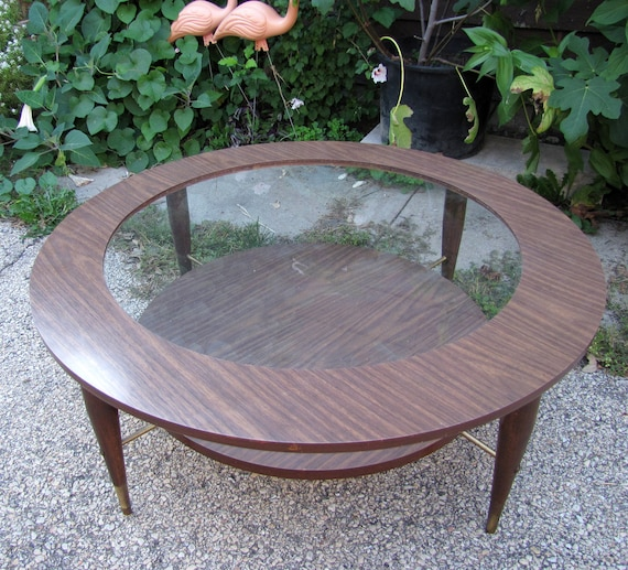 Etsy Round Coffee Tables: Items Similar To Two-tiered, Round Atomic Coffee Table On Etsy