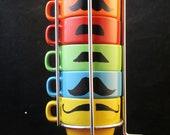Multi Color Six stackable espresso mustache mug set -handpainted
