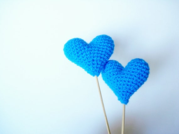 Wedding Cake Toppers, Crochet Blue Hearts (Set of 2) Cake Toppers, For Valentine