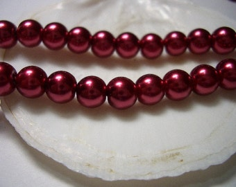8mm glass Pearls, burgundy red, 8mm glass beads, Canada, 8mm round beads, glass pearl beads, dark red, red wine, beads, 8mm beads, sale