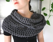 steel grey crochet cowl, hand made from 100% wool by Westlake Designs