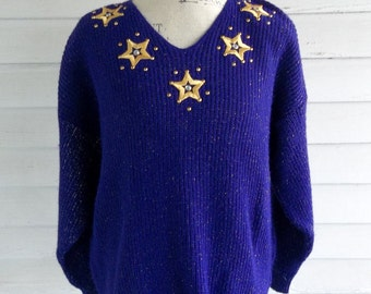 on sale: Vintage Sweater - 1980s PURPLE Stars and Sparkles Sweater