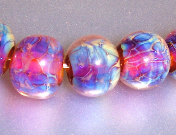 Lampwork Clio Round Beads Light Blue, Purple and  Pink (8)