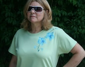 Womens Hand Painted L Shirt - Orchids