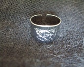 Taurus Ring Adjustable Chrome Plated Steel Sheffield England 1970s April May Dead Stock