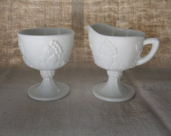 Milk Glass Sugar Bowl and Creamer Set Footed Grapes and Leaves