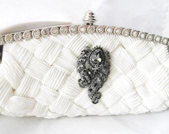Black and White Bridal Wedding Bag Clutch Formal Wear with Large  Rhinestone Brooch Bridal wedding clutch evening bag