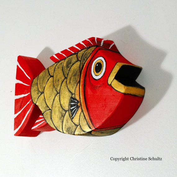 Painted Wood Fish Decor Red And Gold Folk Art