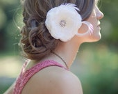 Bridal Hair Flower, Wedding Hair Flower, Bridal Flower Hair Clip, Fascinator, Wedding Hairpiece, Bridal Headpiece, Ivory, White