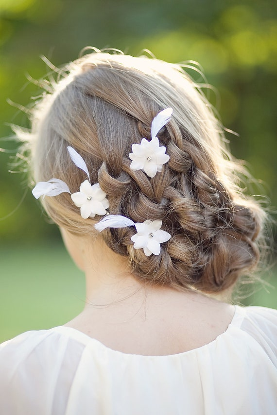Flowers For Hair Wedding Australia : White bridal hair flowers wedding accessories