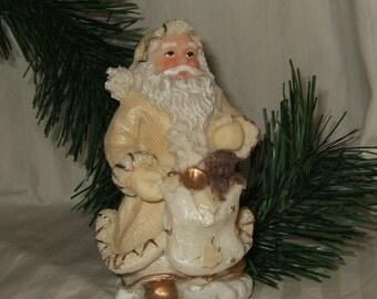 Vintage Christmas Santa Claus ivory and gold Santa with teddy bear non-traditional Santa golden Santa Christmas decor