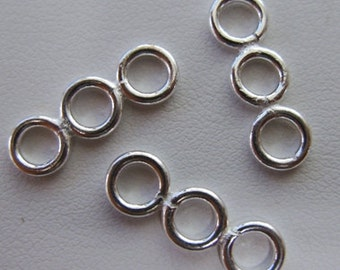 3-Ring Connector- 999 pure silver Over Copper. Three 6mm Fused Jump Rings