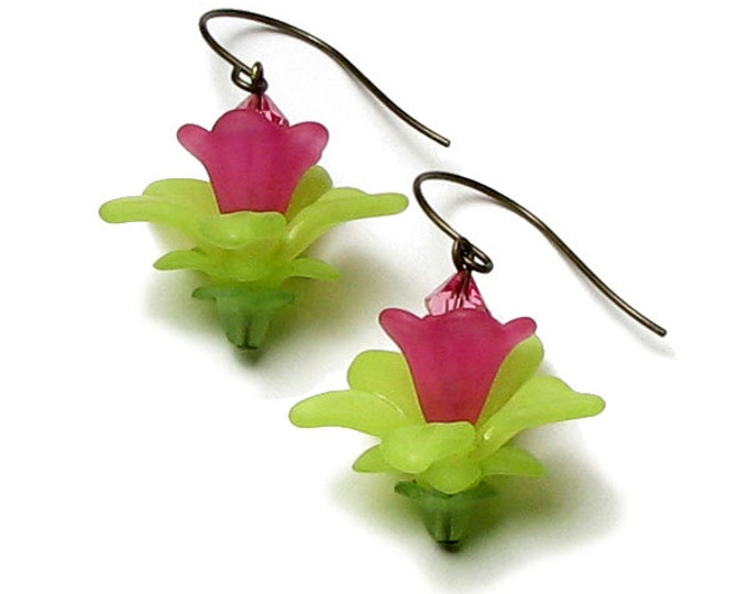 Fairy Garden Hot Pink Lime Green Antique Brass Swarovski Crystal Floral Earrings, Lime Green Flower Earrings, Hot Pink Flower Fairy Earrings