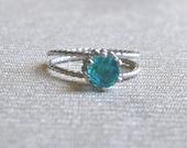 Sterling Silver Ring, Size 6, Paraiba Quartz, 925 Silver Handmade