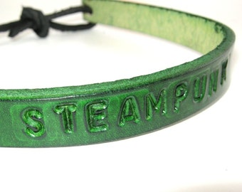 Leather Necklace Steampunk Choker Adjustable Choker Green Leather
