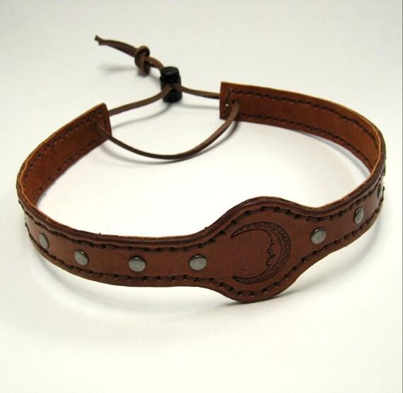 Leather Headband SCA Fantasy Headband Medieval Crown Barbarian Headband Moon
