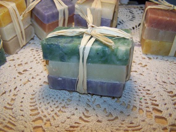 Travel size soaps - trial size soaps - 3 mini soap bars - shea butter- organic-