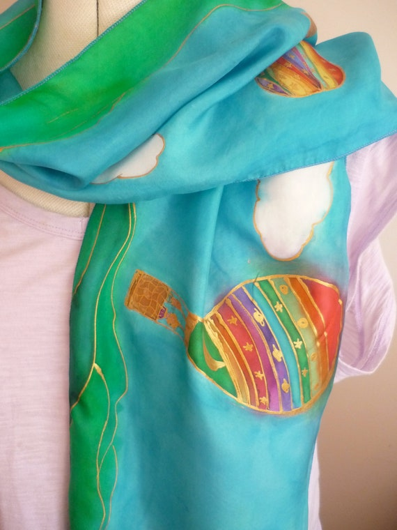"Handpainted Silk Scarf 'Balloons Over Bangalow"" by The Silk Maid"