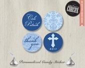 216 Custom Kiss Candy Stickers - Decorotive Baptism Theme - DIY Baptism Baby Boy