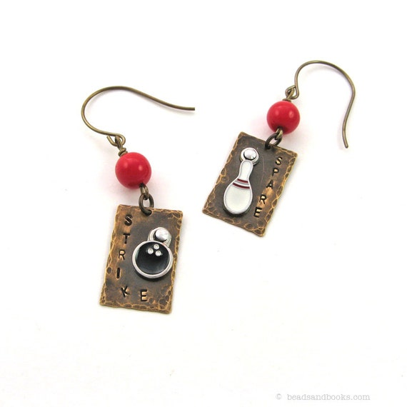 Sports Jewelry: Bowling Earrings, Novelty, Stamped