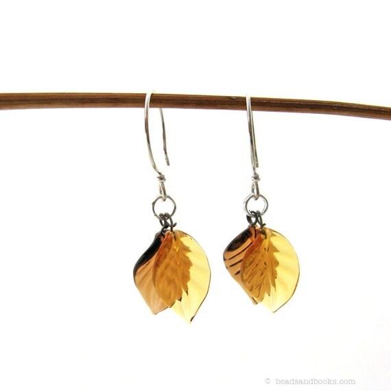 Fall Leaf Earrings (Glass, Sterling Silver)
