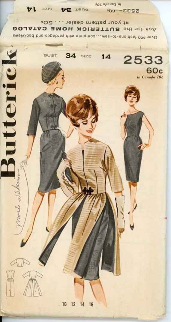 Butterick 2533 Misses 1960s Dress Pattern Sheath Dress Redingote Skirt & Cropped Evening Jacket Womens Vintage Sewing Pattern Bust 34 UNCUT