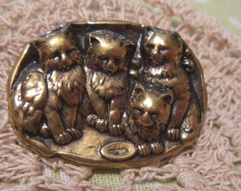 VINTAGE Petite Gold Cat Snuggle Brooch -CAT Brooch - Cat Pin - Kitty Brooch - Kitty Pin - Gold Cat Brooch - Gold Cat Pin
