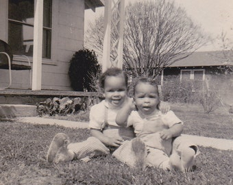 VTG B&W Photo of Two Babies on the Lawn--Goofy