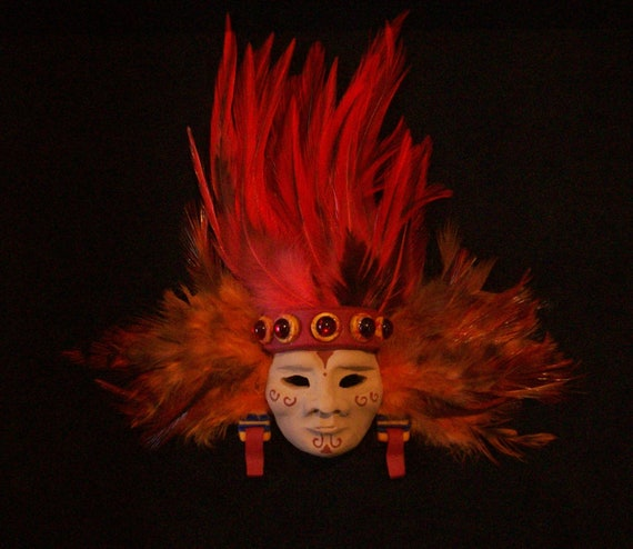 Miniature Aztec Fire God Mask in 8x8 Shadowbox Frame OOAK