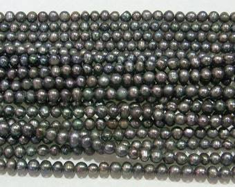 Freshwater Pearl Beads Genuine Natural Pearl 3-4mm Offround Black 15''L 5273 Wholesale Pearls