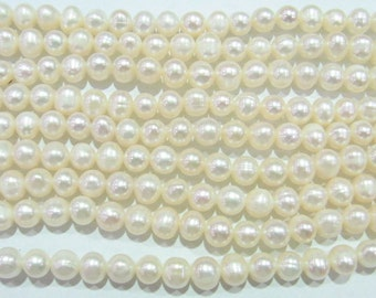 Freshwater Pearl Beads Genuine Natural Pearl 6-7mm Offround White 15''L 5274 Wholesale Pearls
