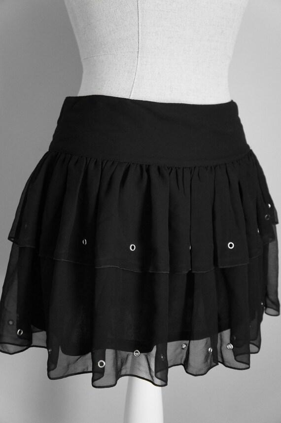 Black Lolita Skirt - Gothic Skirt - Sheer Black Skirt - Mini Skirt - Back To School