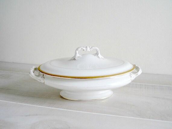 Vintage White China Covered Dish - English Shabby Chic Cottage