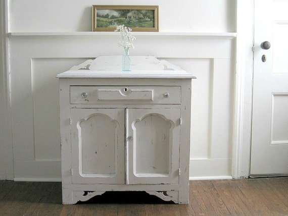 RESERVED - Antique Painted Washstand Cabinet - Farmhouse Cottage