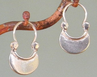 tiny Crescent Moon Earrings - Petite - silver hoop earrings
