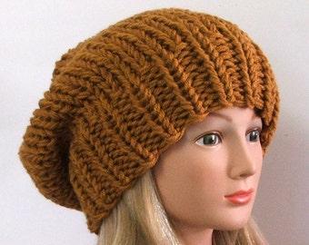 Chunky Knit Honey Tan Slouchy Beret Hat