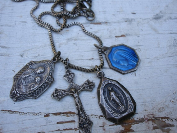 Ever Faithful Religious Medals Necklace Vintage Religious Necklace