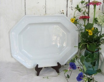 Antique White Ironstone Platter Large Rectangle Staffordshire J Wedgwood English Octagon Scalloped 1800's