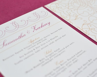 Wedding Menu Card: Citrus Vintage Bohemian with Pink and Orange