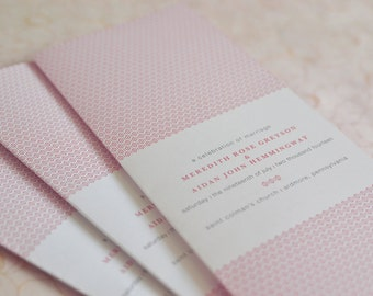 Art Deco Wedding Program: Woven Art Deco Folded Ceremony Program