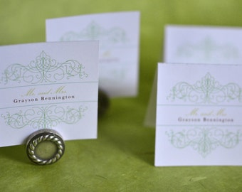 Wedding Place Cards: Vintage Bohemian Green Garden with chartreuse, emerald green, and spring green